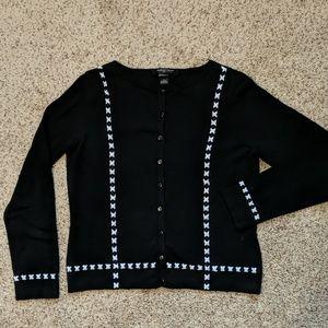 August Silk silk button down sweater